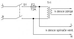 čelní panel - připojovací schema