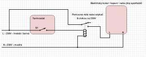 Schema připojení pomocného relé k posílení výstupu termostatu
