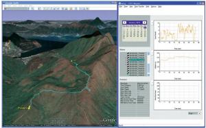 Ukázka zobrazení prošlé cesty po stažení dat z GPS krokoměru