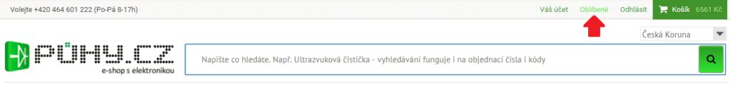 Seznam oblíbených položek naleznete po přihlášení po kliknutí na tento odkaz.