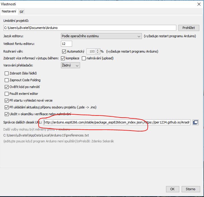 Přidání definic desek ESP8266 do Arduino IDE